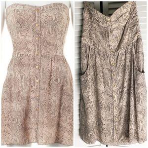 Rebecca Taylor Snake Print Silk Strapless Dress 8